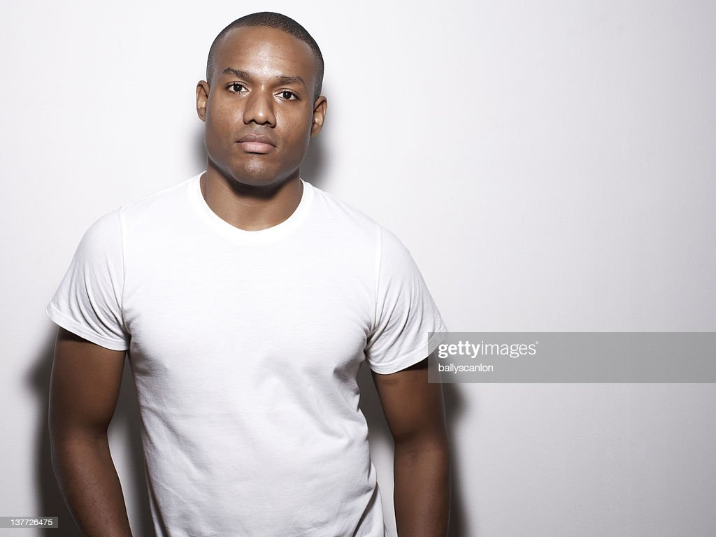 African American Man On A White Background. : Stock Photo