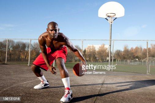 African American Man Playing Basketball Stock Photo ...
