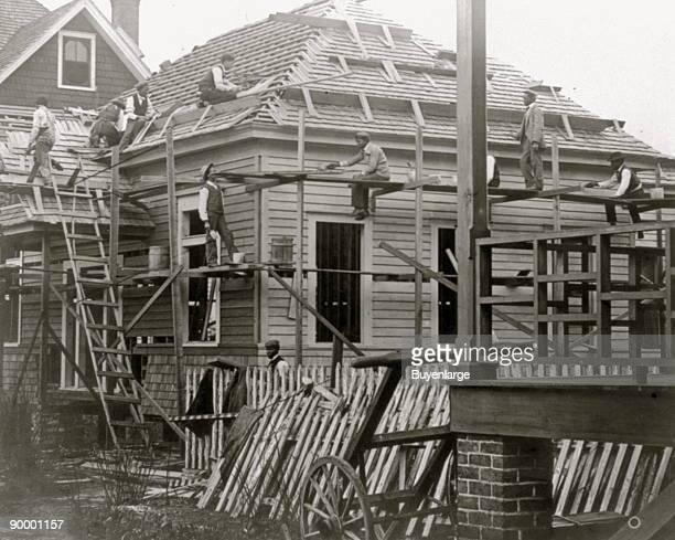 African American men constructing building at Claflin University Orangeburg South Carolina
