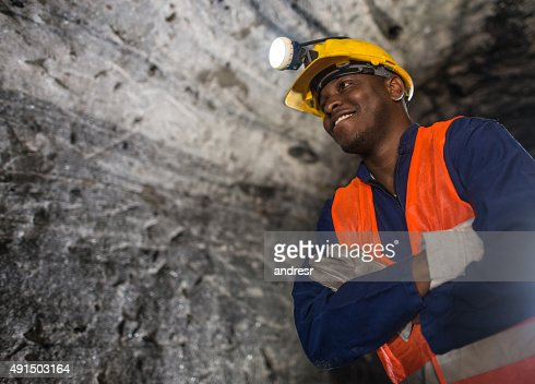 African American miner working at the mine
