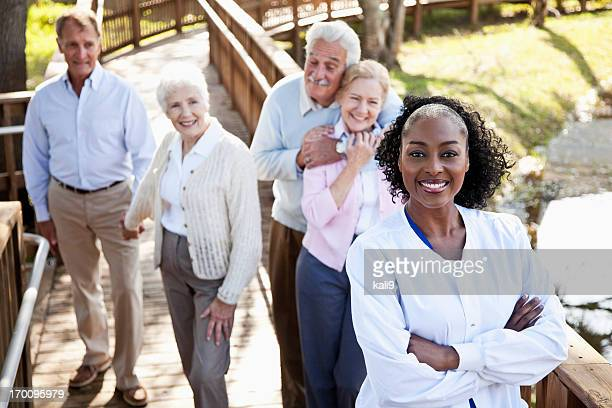 African American nurse at assisted living facility