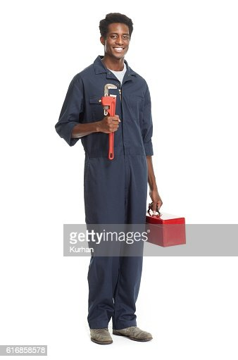 African American Plumber. : Stock Photo