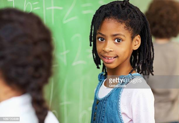 African American school girl in classroom