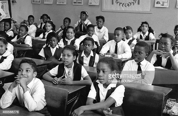 African American schoolchildren in their classroom in April 1964 in Birmingham Alabama