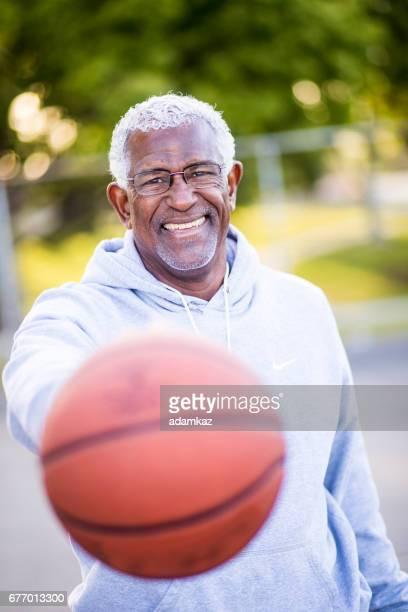 African American Senior Man with Basketball