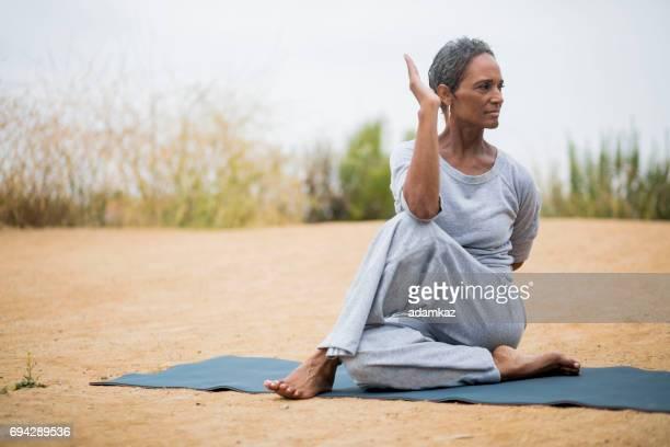 African American Senior Woman Yoga Instructor