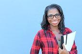 African american university student closeup.