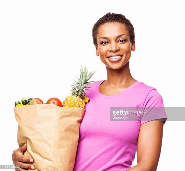 African American Woman Holding Bag of Healthily Groceries - Isolated