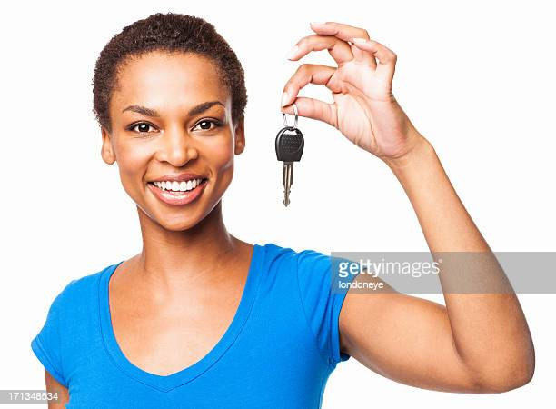 African American Woman Holding Car Key - Isolated
