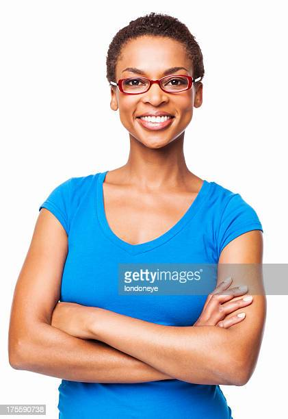 African American Woman In Glasses Smiling - Isolated