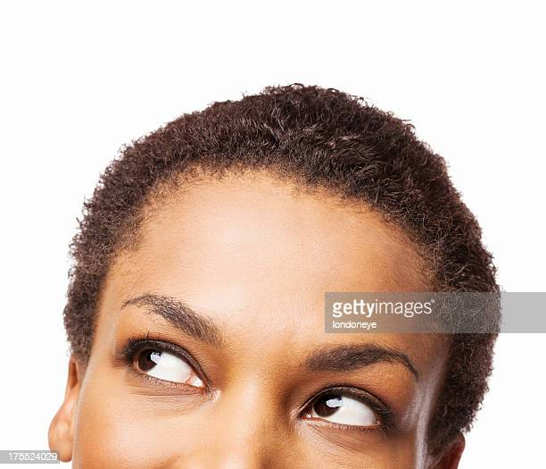 African American Woman Looking Up - Isolated