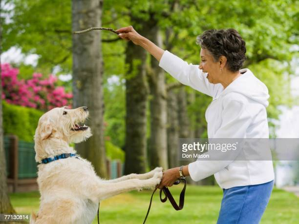 African American woman playing with dog
