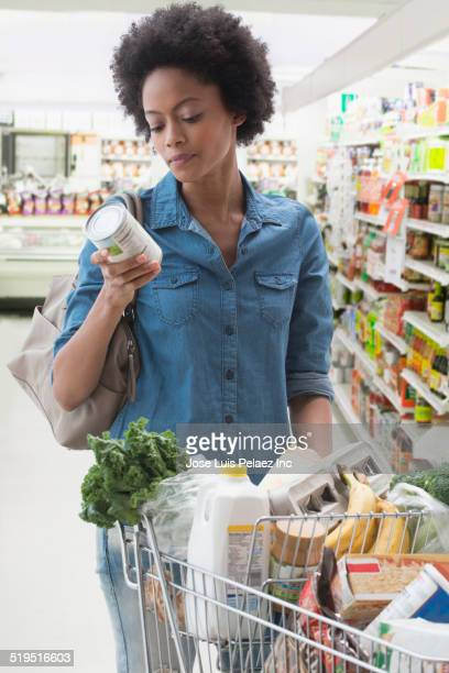 African American woman shopping in grocery store