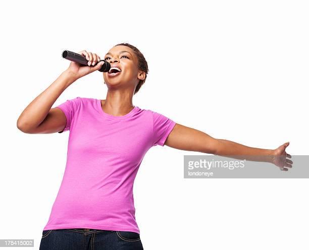 Afroamericana mujer cantar aislado