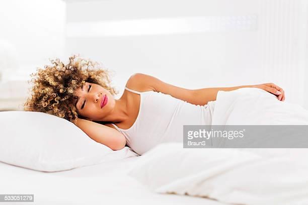 African American woman sleeping.