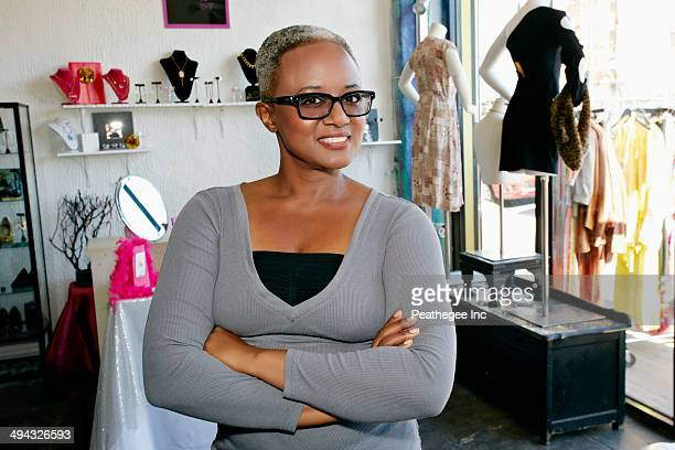 African American woman smiling in store