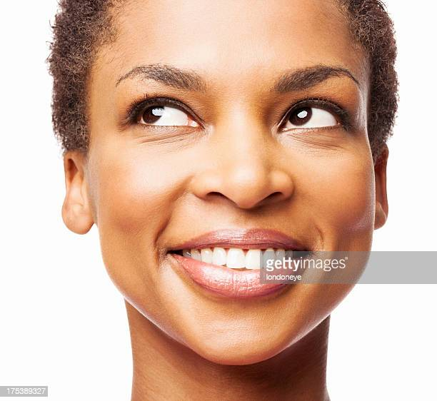 African American Woman Smiling While Looking Up - Isolated