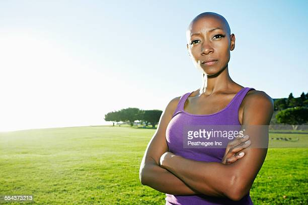African American woman standing in park