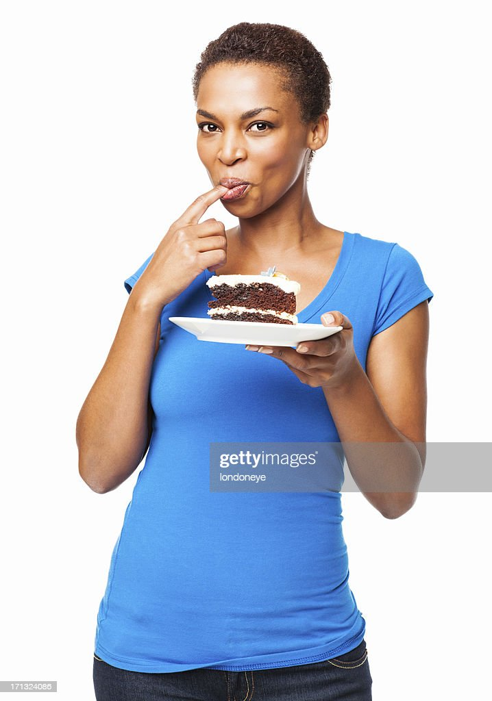 African American Woman Tasting Chocolate Cake- Isolated : Stock Photo