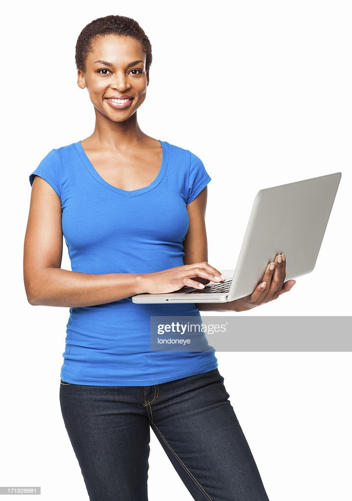 African American Woman Using a Laptop - Isolated : Stock Photo