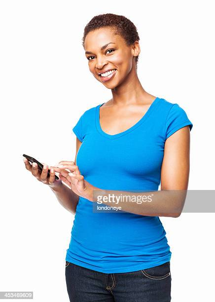 African American Woman Using Smart Phone - Isolated