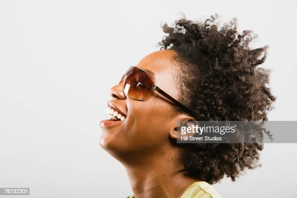 African American woman wearing sunglasses