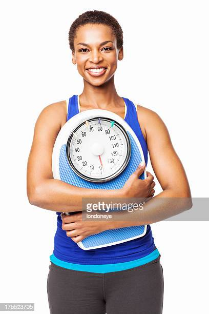 African American Woman With a Weighing Scale - Isolated