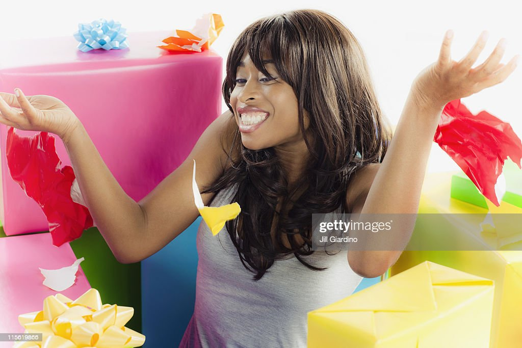 African American woman with birthday presents : Stock Photo
