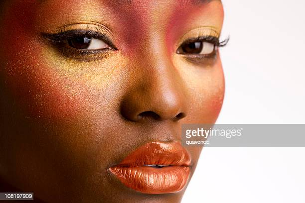 African American Young Woman Beauty Portrait, Close Up
