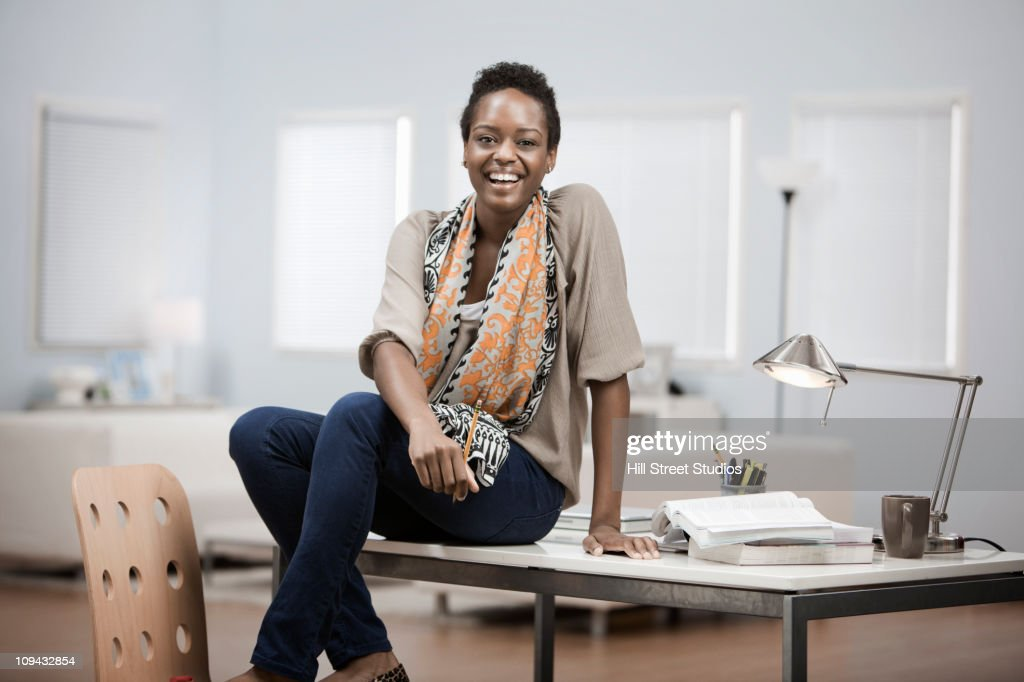 African American Woman Working In Home Office Stock Photo Getty