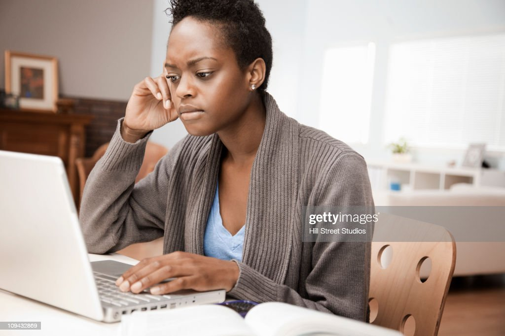 african american woman working in home office stock photo - Working In Home Office