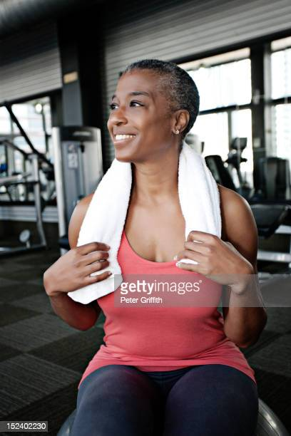 African American woman working out in health club