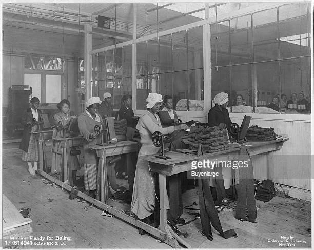 African American women at work manufacturing spiral puttees at plant of Alexander Propper Company New York City