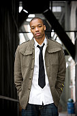 African American Young Male Fashion Model in Urban Downtown