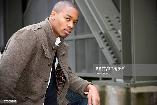 African American Young Man Fashion Model Downtown, Copy Space