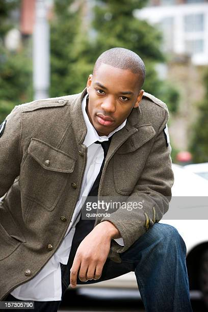 African American Young Man Fashion Model Outdoors in Jacket