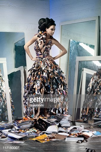 African American Young Woman Fashion Model in Paper Gown