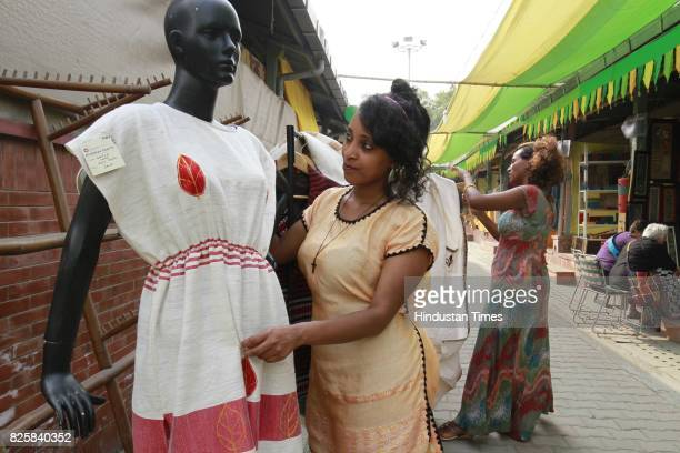 African artist at Kisan Haat Andheria Modh Anuvrat Marg Desu Colony on February 18 2015 in New Delhi India
