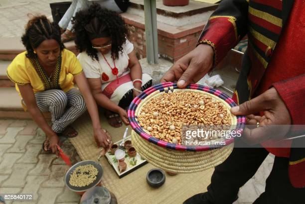 African artists at Kisan Haat Andheria Modh Anuvrat Marg Desu Colony on February 18 2015 in New Delhi India