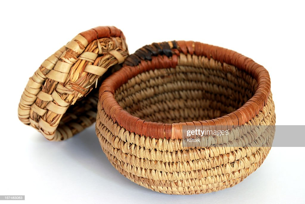 african basket with lid stock photo getty images. Black Bedroom Furniture Sets. Home Design Ideas