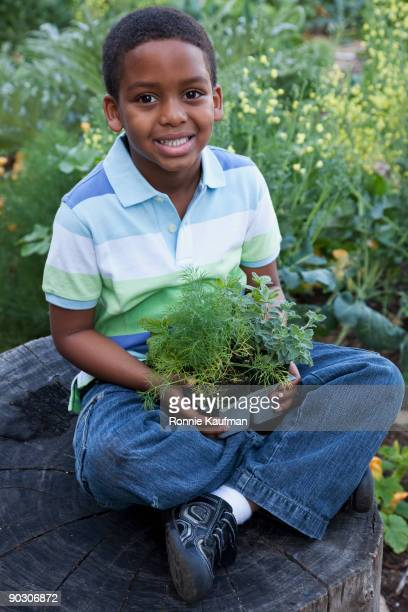African boy holding seedlings