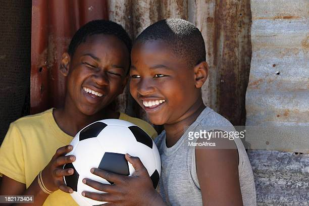 African boys with a soccer ball
