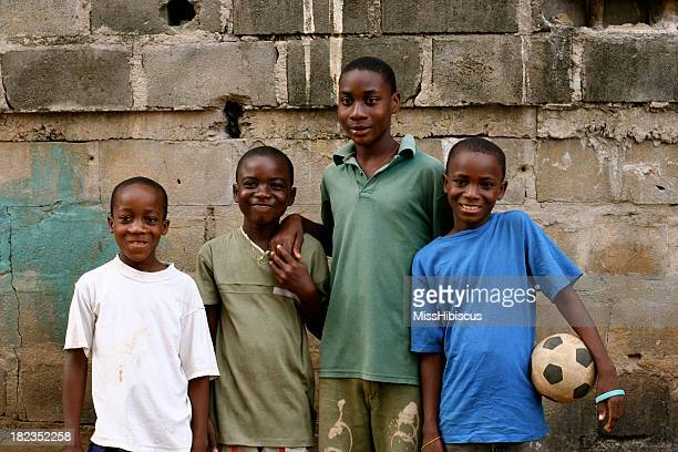 African Boys with Soccer Ball