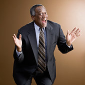 African businessman laughing
