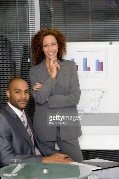 African businesswoman giving presentation
