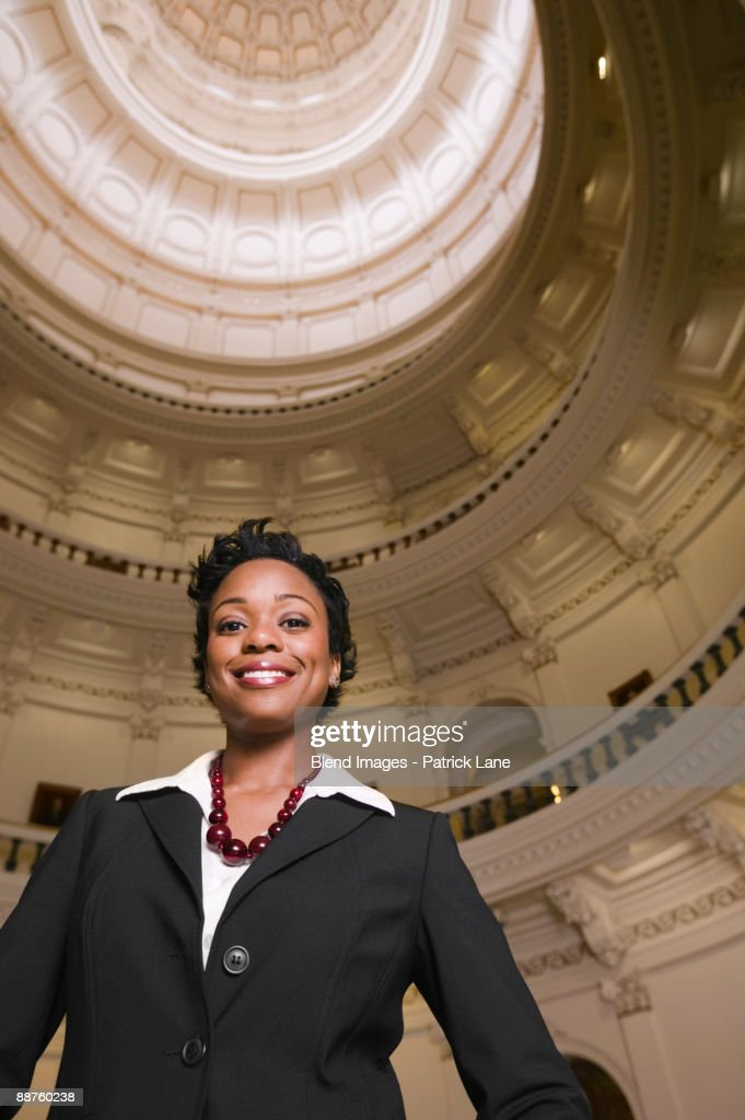 African businesswoman in capitol building