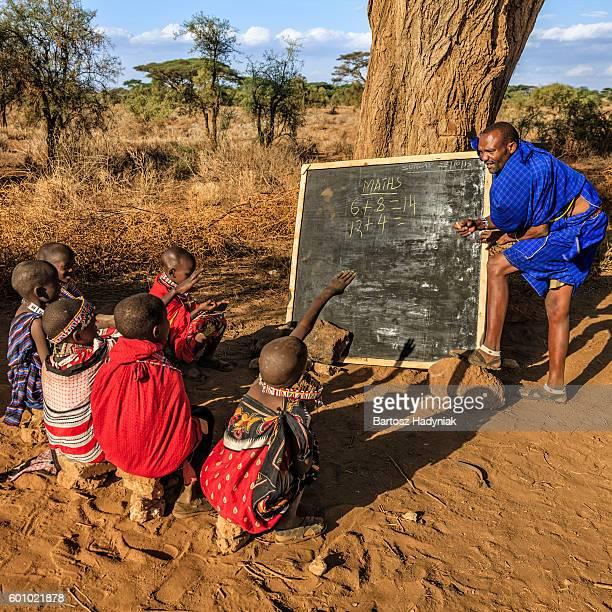 African children during math class, Kenya, East Africa