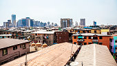 View over the roofs to downtown Lagos, Nigeria.
