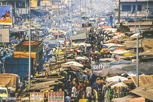 African city market scene.