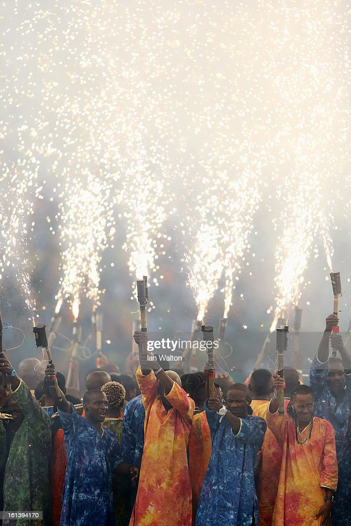 African dancers during the opening ceremony Dduring the 2013 Africa Cup of Nations Final match between Nigeria and Burkina at FNB Stadium on February 10, 2013 in Johannesburg, South Africa.